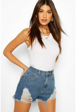 Mid blue blue High Waist Distressed Mom Short