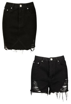 Black Distressed 2 Pack Denim Skirt And Short