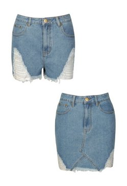 Mid blue Distressed 2 Pack Denim Skirt and Short
