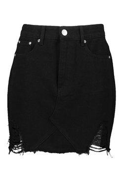 Black High Waist Distressed Denim Skirt