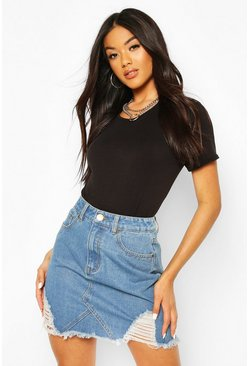Middenblauw blue Distressed denim mom shorts met hoge taille