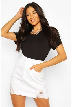 White High Waist Distressed Denim Skirt