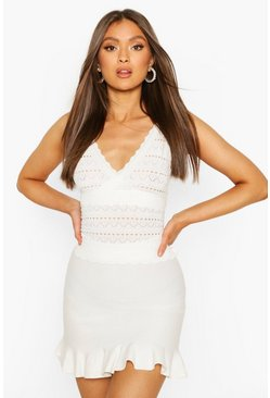 White Premium Pointelle Ruffle Knit Skirt Set