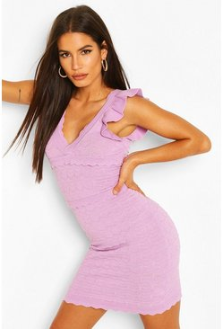 Lilac purple Premium Ruffle Pointelle Wrap Front Dress