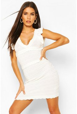 White Premium Ruffle Pointelle Wrap Front Dress