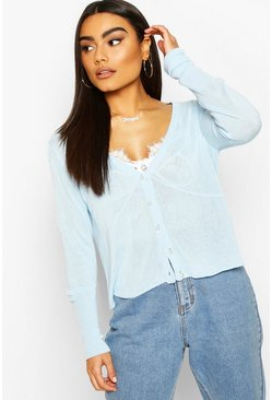 Baby blue blue Fine Premium Knit Pearl Button Crop Cardigan