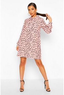 Blush pink Polka Dot Pussybow Smock Dress