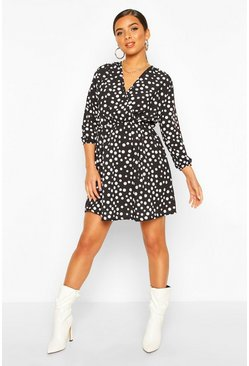 Black Wrap Over Polka Dot Dress