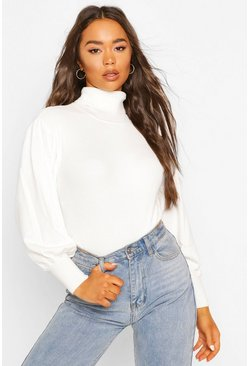 Cream white Rib Knit Balloon Sleeve Roll Neck Top