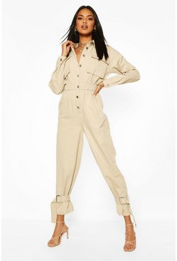 Stone beige Utility Cuff Detail Boilersuit