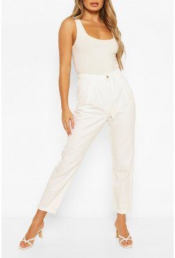 Ecru white High Rise Twill Boyfriend Jean