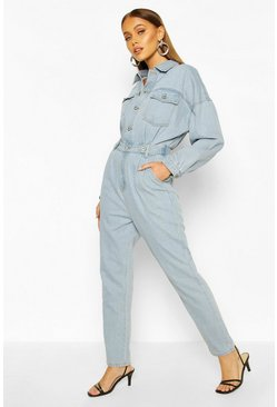 Light blue Waist Detail Denim Boilersuit
