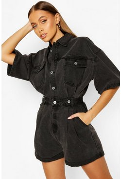 Washed black Waist Detail Denim Playsuit
