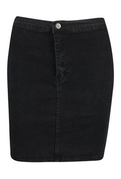 Black Power Stretch Denim Skirt