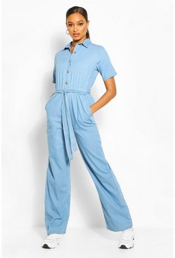 Light blue blue Tie Waist Light Weight Denim Jumpsuit