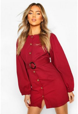 Raspberry pink Volume Sleeve Belted Denim Dress