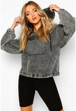 Black Hooded Acid Wash Pull Over Denim Jacket