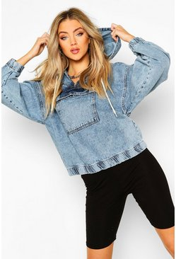 Light blue blue Hooded Acid Wash Pull Over Denim Jacket