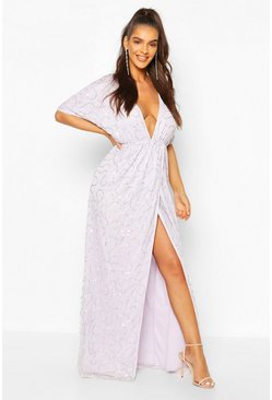 Lilac Boutique Sequin Plunge Maxi Dress