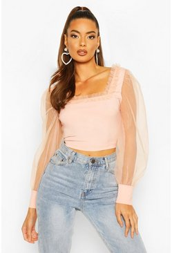 Peach orange Organza Ruffle Detail Square Neck Top