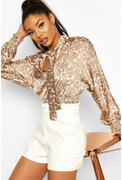 Nude Satin Paisley Shirred Blouse