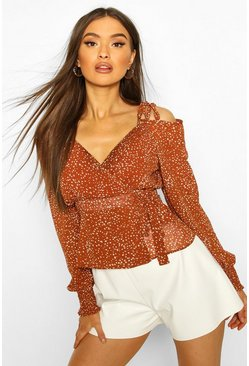 Tan Woven Printed Cold Shoulder Blouse