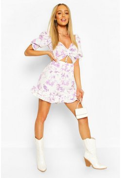 Lilac purple Ruched Front Sweetheart Floral Romper