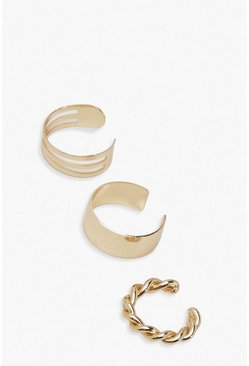 Gold metallic Ear Cuff 3 Pack