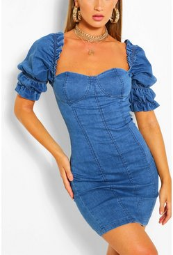 Mid blue blue Ruffle Sleeve Denim Bodycon Dress
