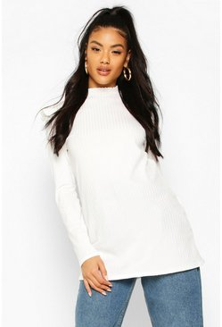 White Ruffle Shoulder Long Sleeve Rib Tunic