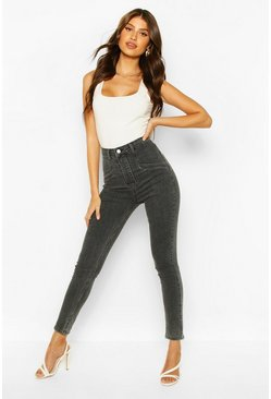 Grey Power Stretch High Rise Skinny Jean