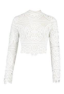 White Crotchet Lace Long Sleeve Top