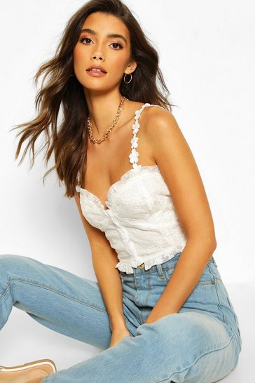 Ivory white White Embroidered Mesh Button Through Crop Top
