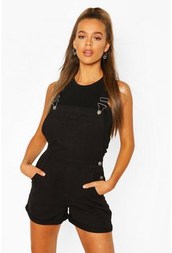 Black Denim Short Dungaree