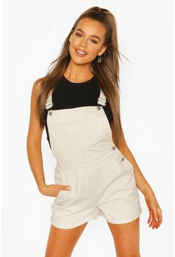 Stone beige Denim Short Dungaree