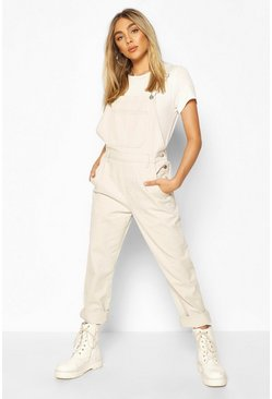 Stone beige Boyfriend Denim Dungaree
