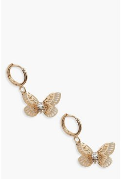Gold metallic Butterfly Mini Hoop Earrings