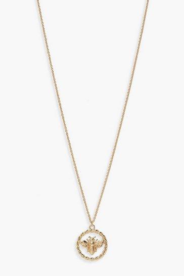 Gold metallic Bumble Bee Ring Detail Necklace