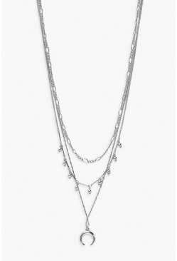 Silver Horn Layered Necklace