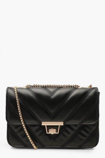 Black PU Cross Body Bag