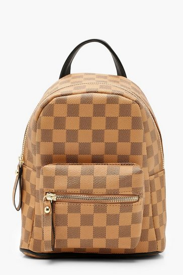 Brown All Over Check Mini Backpack