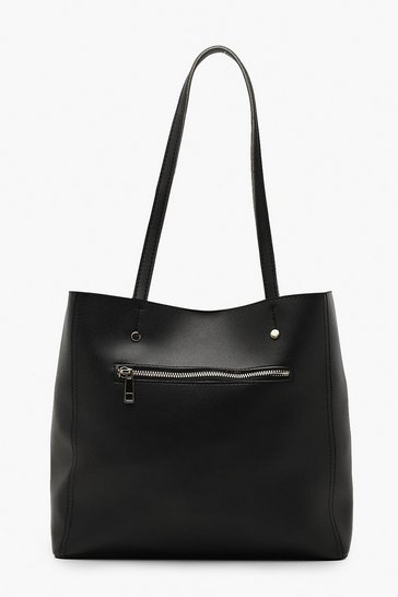 Black Zip Window Tote Bag