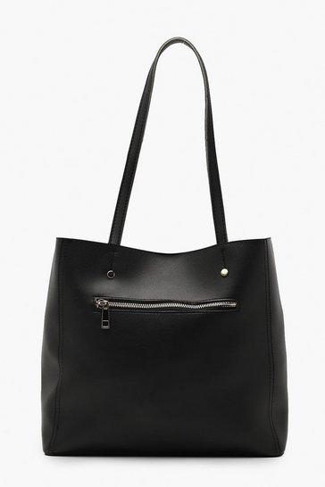 Black Zip Window Tote Bag