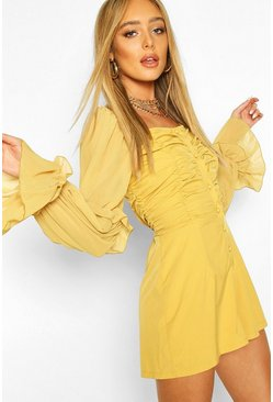 Mustard yellow Ruched Front Volume Sleeve Playsuit