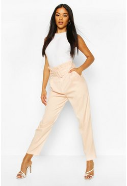 Nude Belted Paperbag Waist Straight Leg Trouser