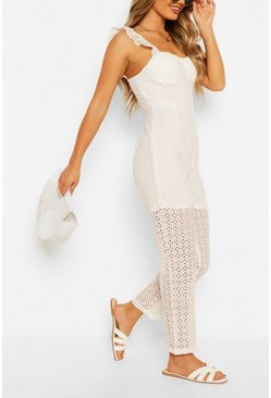 Ivory white Broderie Anglais Slim Leg Jumpsuit