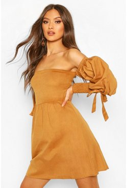 Linen Off Shoulder Shirred Sleeve Mini Dress, Tan marrón
