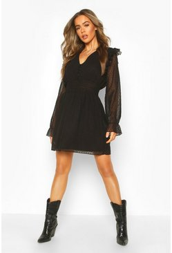 Black Dobby Button Shirred Waist Skater Dress