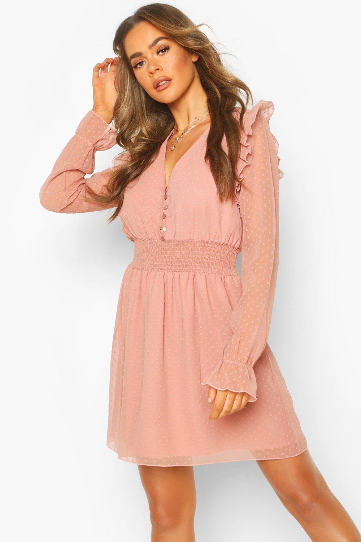 DRESSES Dobby Button Shirred Waist Skater Dress