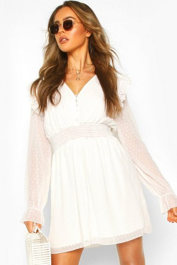Ivory white Dobby Button Shirred Waist Skater Dress